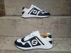 Gucci Monogram GG White & Black Leathrer Trainers Sneakers UK Size 7 G
