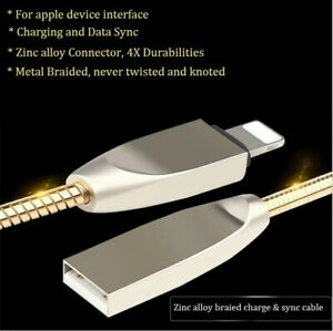 Metal Braided Charging USB Charger Data Cable For Apple iPhone 7 S 8 X plus iPad