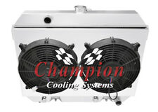 """3 Row Perf Radiator W/ 2 12"""" Fans and Shroud for 1975 - 1978 Nissan 280Z L6 Eng"""