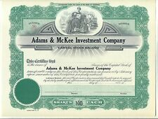 Adams & McKee Investment Company Stock Certificate California