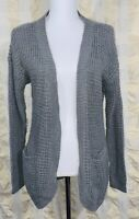 Only Size Medium M Cardigan Sweater Gray Emma Pockets Knit Open Front Stretch