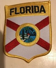 Embroidered Florida iron on flag motif shield patch