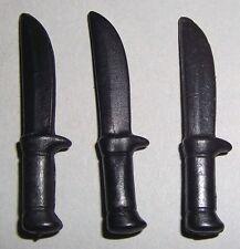09784, 3x Messer, Dolch, Bowiemesser, Western, schwarz