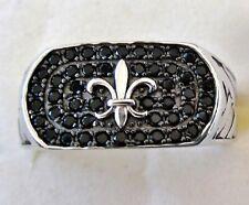 Men's Black Spinel Fleur-de-Lis Ring  / size 11 / 925 Sterling Silver, 1ct, 8.7g