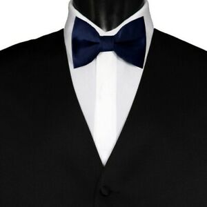 TUXEDO BOW TIE Wedding Party Prom Pre-Tied Mens Adjustable Plain Solid Navy Blue