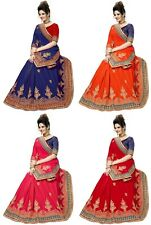 Indian Latest Women's Wedding Designer Penal Style Embroidery Silk Saree
