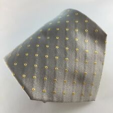 ALTEA MILANO 58L Light Grey & Yellow Geometric Silk Mens Neck Tie -Made in Italy