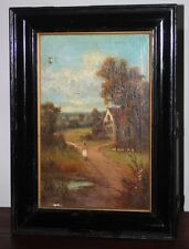 Oil Painting on Canvas British Landscape Cottage signed J B MEAD 1912 [PL2661]