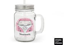 Trinkglas mit Strohhalm Glas Bus Bulli Auto Name TG006