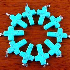 10Pcs Pretty Carved Blue Turquoise Cross Pendant Bead BWSJZ2