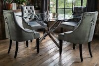 Luna Luxury Glass Dining Table Set with 4 Grey Portia Scoop Chairs Square