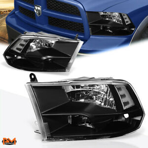 For 09-18 Dodge RAM Pickup Black Housing Clear Corner Quad Headlight/Lamp Set