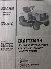 Sears Craftsman LT 12 Lawn Tractor & 38 Mower Owner & Parts Manual 917.254622
