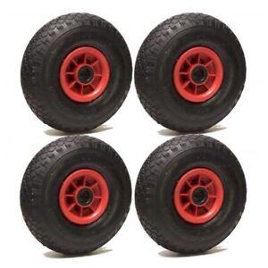 LOT de 4x roue gonflable diable 260 x 85  (3.00-4) alésage 25 mm roulement à rou