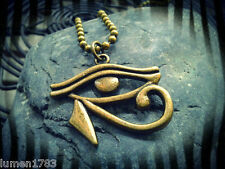 EYE OF HORAS RA PENDANT BLACK CORD W EXTENSION LARGE BRASS GOD OF EGYPT PROTECT