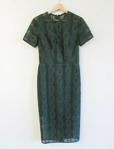 Lover the Label Size AU 10 Moss Green Lace Vine V Sheath Dress Short Sleeve Midi