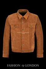Trucker Mens Western Leather Jacket Tan Suede Classic Casual Fashion Shirt Style