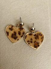 1 Pair Fashion Gold Heart Leopard Earrings Women Jewelry