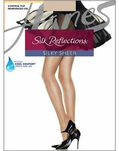 Pantyhose Reinforced Toe Hanes Sheer Silk Reflections Control Top Cool Comfort