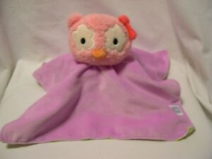 Boppy Baby Girl pink green Owl stuffed plush lovey blanket security super soft