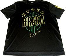 NIKE Brazil Football T-Shirt CBF Short Sleeve Athletic Wear Black and Yellow XL