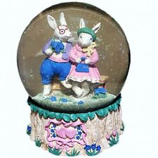 VNTG San Francisco Music Box Company Easter Love Bunnies Musical Snow Globe