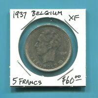 "BELGIUM -  FANTASTIC HISTORICAL ""BELGIQUE"" NICKEL 5 FRANCS (5 FRANK), 1937"
