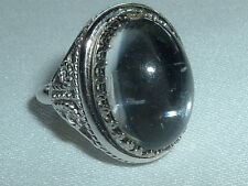 VINTAGE LUCITE DOME SILVER TONE COCKTAIL RING SIZE 6