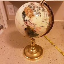 "Semi-Precious Stone Globe Stands About 16"" Tall Globe About 8"" Diameter"