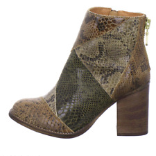 Poelman Patch Snake-Look Ankle Boots Side zip Brown Taupe UK4 Eur 37