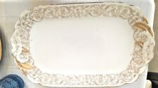 "Vintage T&V French Limoges White w/Gold Large Rectangular 10"" x 16"" Platter"