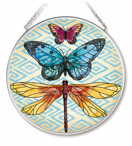 """Enchanting Wings 2 Sun Catcher AMIA 4.5"""" Round Butterfly Dragonfly Glass New"""