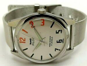 Hmt Pilot Hand Winding Men's Steel 17 Jewels Vintage Wrist Watch working Order