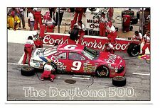 Daytona 500 Postcard Coors Beer Car 9 Pits to Track Florida Unposted Speedway