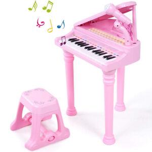 31 Key Kids Electronic Keyboard Mini Grand Piano Stool Microphone Musical Toy UK