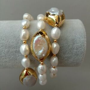 8'' 3 Rows Cultured White Baroque Pearl White Keshi Pearl Bracelet