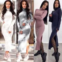 Womens Knitted Sweater Jumpers Long Maxi Dress Knitwear Winter Long Sleeve Split