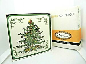 """Pimpernel Coasters Christmas Tree Floral 4"""" Square Acrylic Set of 6 Vintage"""