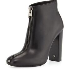 100% AUTHENTIC NEW TOM FORD FRONT ZIP LEATHER ANKLE BOOT  36 RETAIL $1250