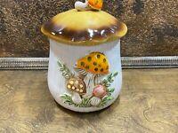 Vintage 1970s Medium  Merry Mushroom Ceramic Kitchen Canister ( Sears )