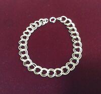Vintage Sterling Silver Double Link Starter Charm Bracelet