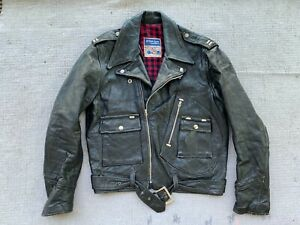 vintage BRISTOL CYCLE LEATHER jacket centre zip 36-38 S rock motor bike D pocket