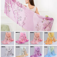 US Retro Women Floral Long Chiffon Scarf Wrap Large Silk Shawl Stole Scarf