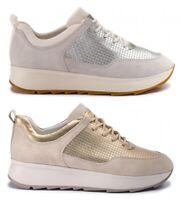 GEOX RESPIRA GENDRY D925TB scarpe donna sneakers pelle camoscio zeppa tessuto