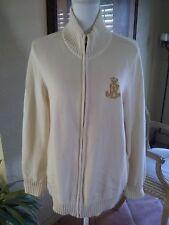 Vintage 1980's Ralph Lauren Cardigan Knit Sweater Big Gold Crest Crown Logo XL