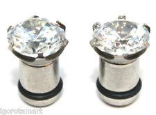 6mm Silver Steel Flesh Tunnel with CZ Crystal Gem Ear Plug Stretcher O Ring NEW