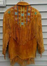 Marvin Richards Suede Leather Fringed Cowboy Beaded Jacket Western Coat Ladies S