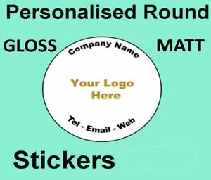 Personalised 35mm 45mm Round CUSTOM Stickers  Printed logo Business Events Art
