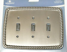 Triple Light Switch Cover ROPE Wall Plate SATIN NICKEL Brainerd 126421