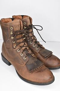 Ariat Lace Up Roper Brown Leather Boots Womens 9B Riding Cowgirl Rubber Sole EUC